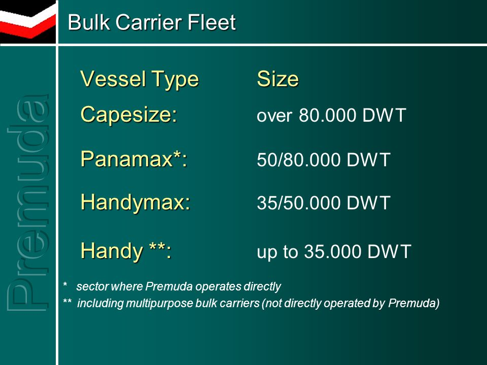 Bulk Carrier Fleet Bulk Carrier Fleet Vessel Type Size Capesize: Capesize: over 80.000 DWT Panamax*: Panamax*: 50/80.000 DWT Handymax: Handymax: 35/50.000 DWT Handy **: Handy **: up to 35.000 DWT * sector where Premuda operates directly ** including multipurpose bulk carriers (not directly operated by Premuda) Vessel Type Size Capesize: Capesize: over 80.000 DWT Panamax*: Panamax*: 50/80.000 DWT Handymax: Handymax: 35/50.000 DWT Handy **: Handy **: up to 35.000 DWT * sector where Premuda operates directly ** including multipurpose bulk carriers (not directly operated by Premuda)