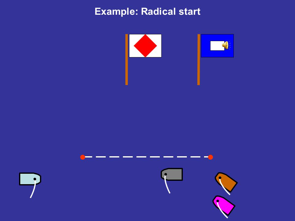 Example: Radical start Is this OK? (Rule 17?) Pinky has to beat Brown in the last race to win the whole series