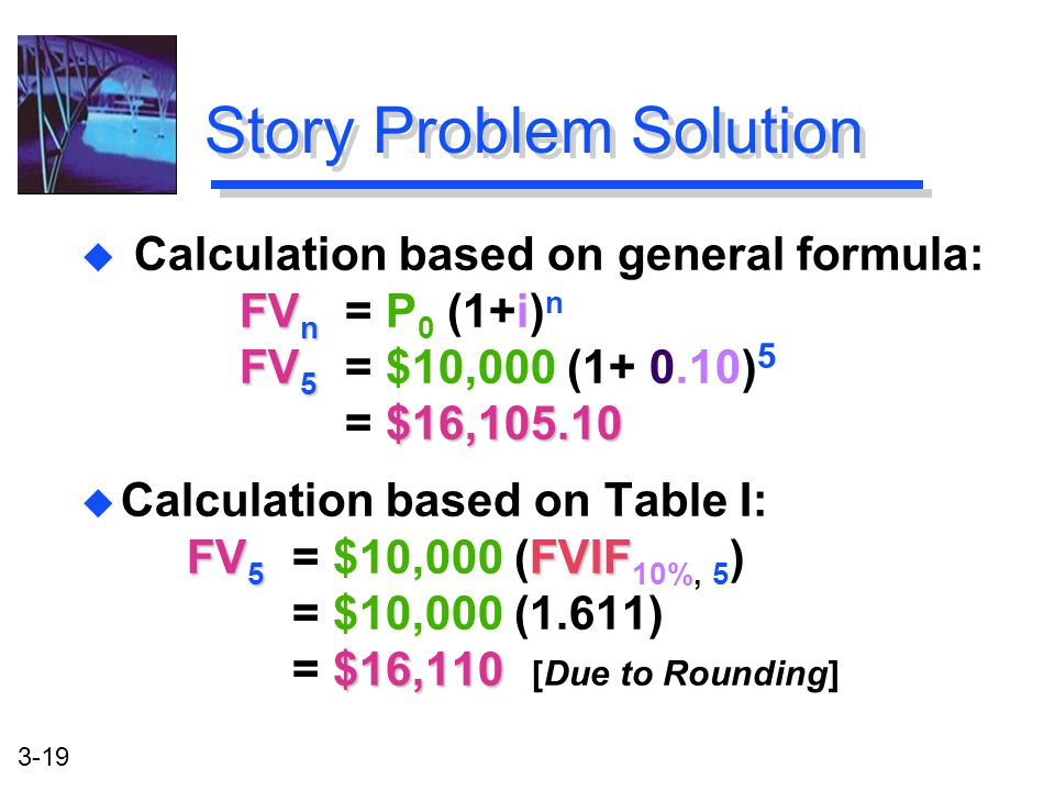 3-19 FV 5 FVIF $16,110 u Calculation based on Table I: FV 5 = $10,000 (FVIF 10%, 5 ) = $10,000 (1.611) = $16,110 [Due to Rounding] Story Problem Solution FV n FV 5 $16,105.10 u Calculation based on general formula: FV n = P 0 (1+i) n FV 5 = $10,000 (1+ 0.10) 5 = $16,105.10