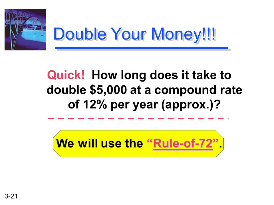 3-21 Rule-of-72 . We will use the Rule-of-72 . Double Your Money!!.