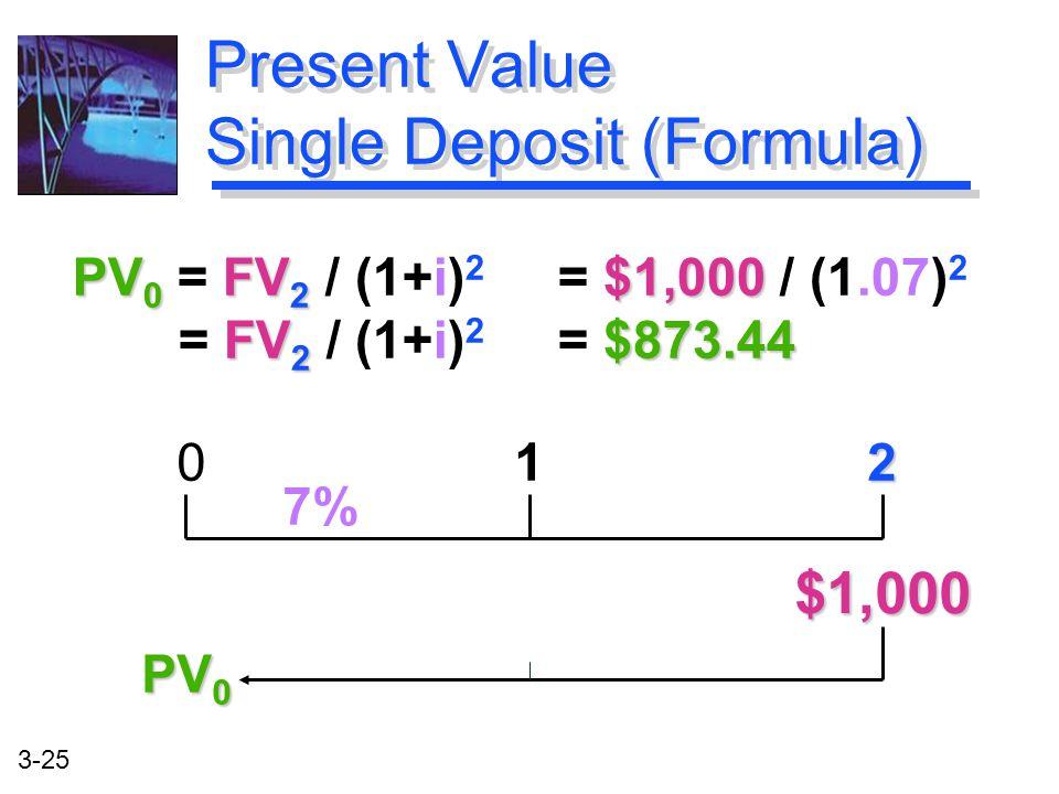 3-25 PV 0 FV 2 $1,000 FV 2 $873.44 PV 0 = FV 2 / (1+i) 2 = $1,000 / (1.07) 2 = FV 2 / (1+i) 2 = $873.44 Present Value Single Deposit (Formula) 2 0 1 2 $1,000 7% PV 0