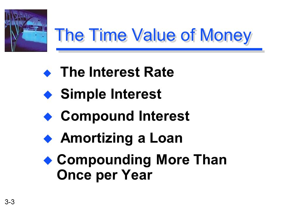 3-3 The Time Value of Money u The Interest Rate u Simple Interest u Compound Interest u Amortizing a Loan u Compounding More Than Once per Year u The Interest Rate u Simple Interest u Compound Interest u Amortizing a Loan u Compounding More Than Once per Year