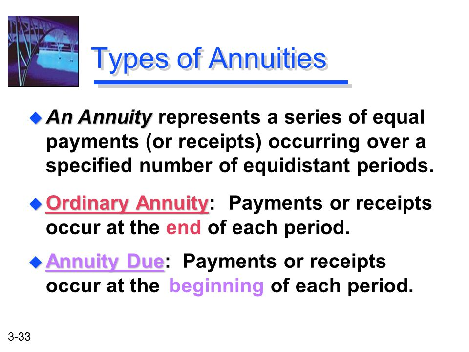 3-33 Types of Annuities u Ordinary Annuity u Ordinary Annuity: Payments or receipts occur at the end of each period.