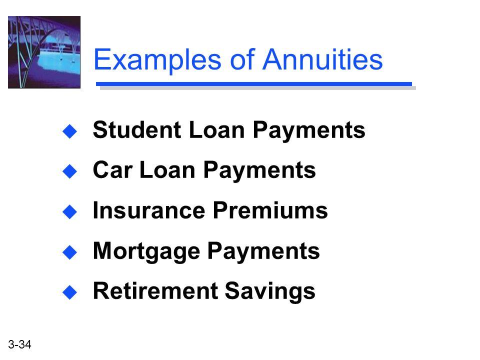 3-34 Examples of Annuities u Student Loan Payments u Car Loan Payments u Insurance Premiums u Mortgage Payments u Retirement Savings