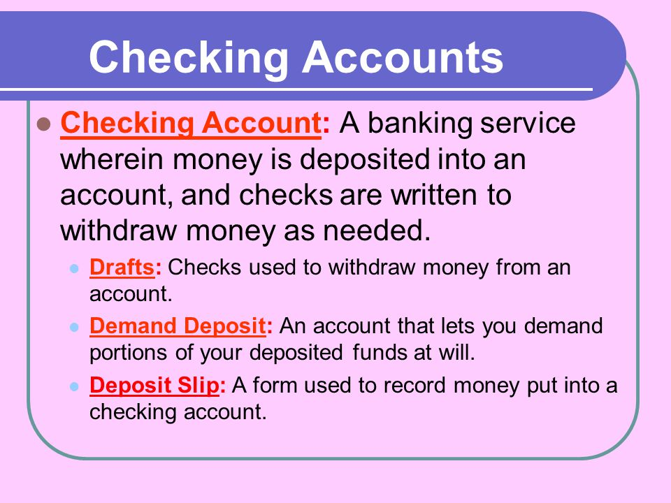 What are the different types of checking accounts available.