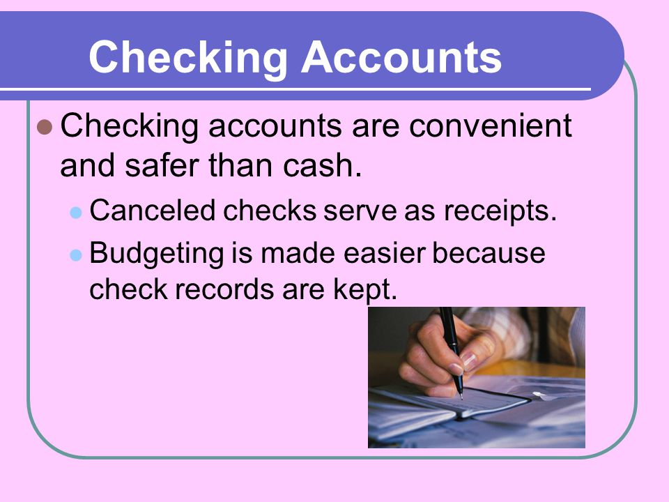 Types of Checking Accounts There are four types of checking accounts.
