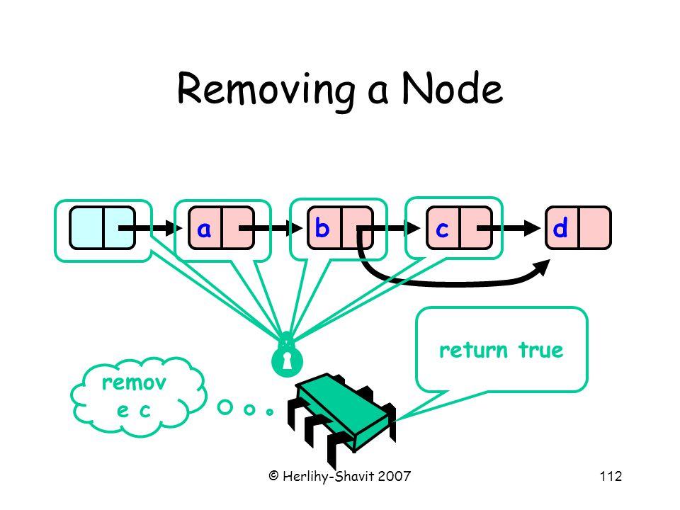 © Herlihy-Shavit 2007112 Removing a Node abcd remov e c return true