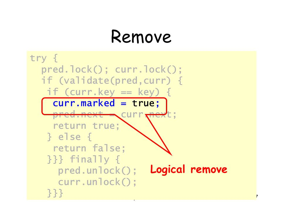© Herlihy-Shavit 2007177 Remove try { pred.lock(); curr.lock(); if (validate(pred,curr) { if (curr.key == key) { curr.marked = true; pred.next = curr.next; return true; } else { return false; }}} finally { pred.unlock(); curr.unlock(); }}} Logical remove