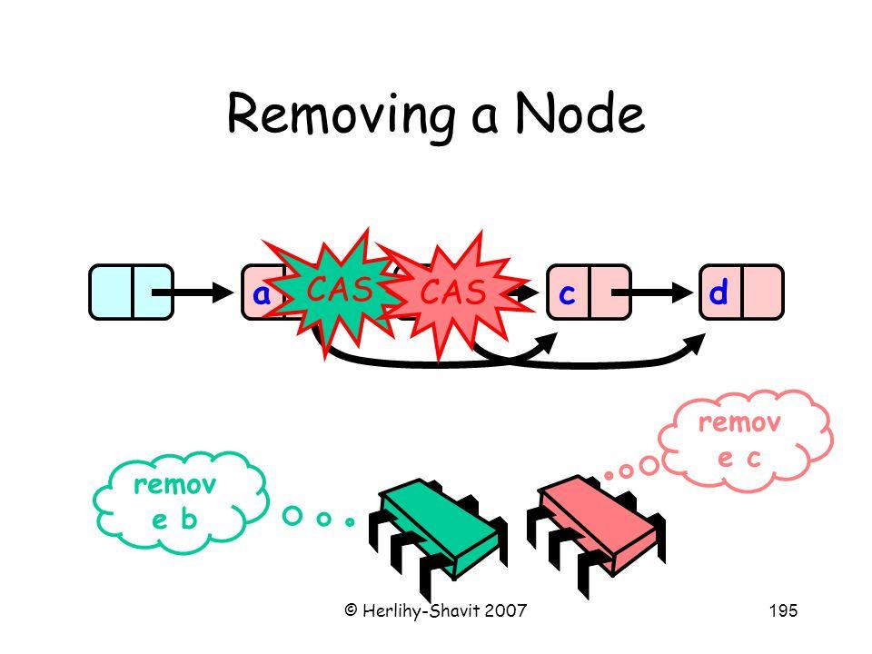 © Herlihy-Shavit 2007195 Removing a Node abcd remov e b remov e c CAS