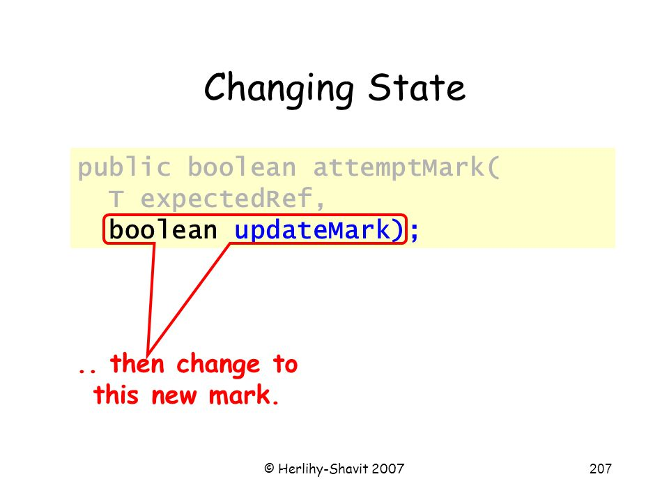 © Herlihy-Shavit 2007207 Changing State public boolean attemptMark( T expectedRef, boolean updateMark);..