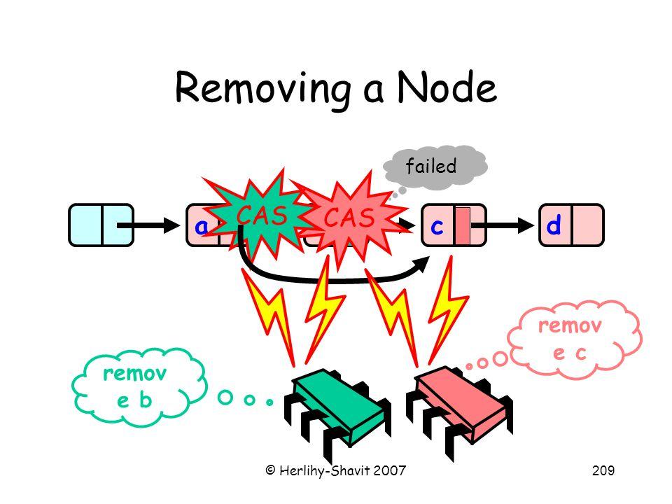 © Herlihy-Shavit 2007209 Removing a Node abd remov e b remov e c c CAS failed