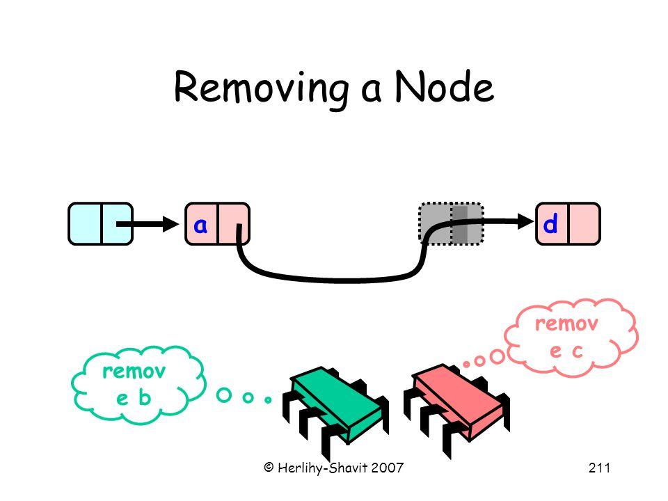 © Herlihy-Shavit 2007211 Removing a Node ad remov e b remov e c