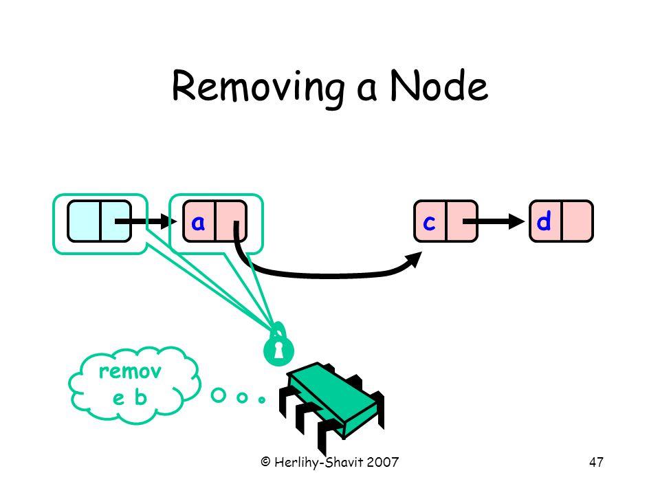 © Herlihy-Shavit 200747 Removing a Node acd remov e b