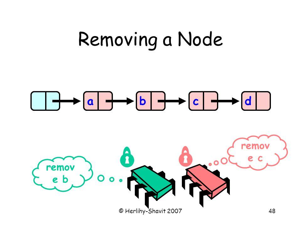 © Herlihy-Shavit 200748 Removing a Node abcd remov e b remov e c
