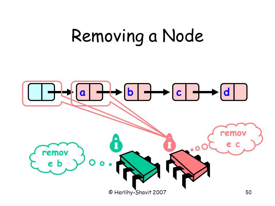 © Herlihy-Shavit 200750 Removing a Node abcd remov e b remov e c