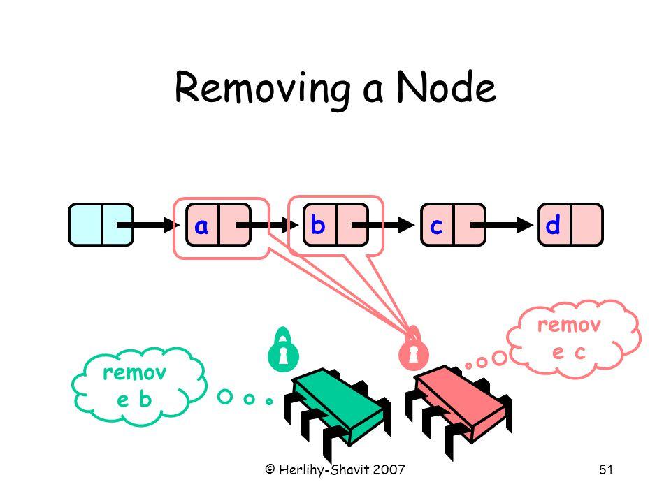 © Herlihy-Shavit 200751 Removing a Node abcd remov e b remov e c