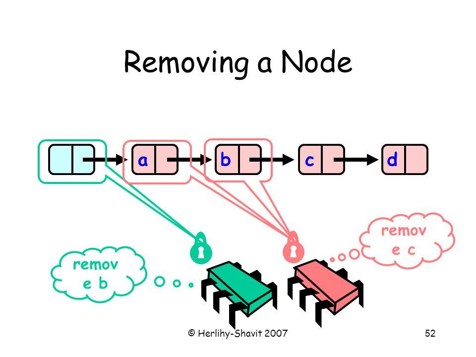© Herlihy-Shavit 200752 Removing a Node abcd remov e b remov e c