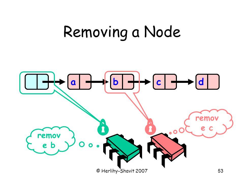 © Herlihy-Shavit 200753 Removing a Node abcd remov e b remov e c