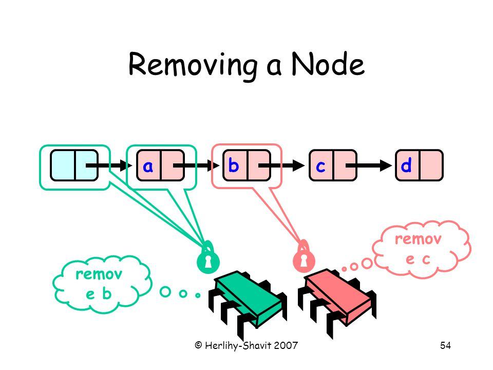 © Herlihy-Shavit 200754 Removing a Node abcd remov e b remov e c