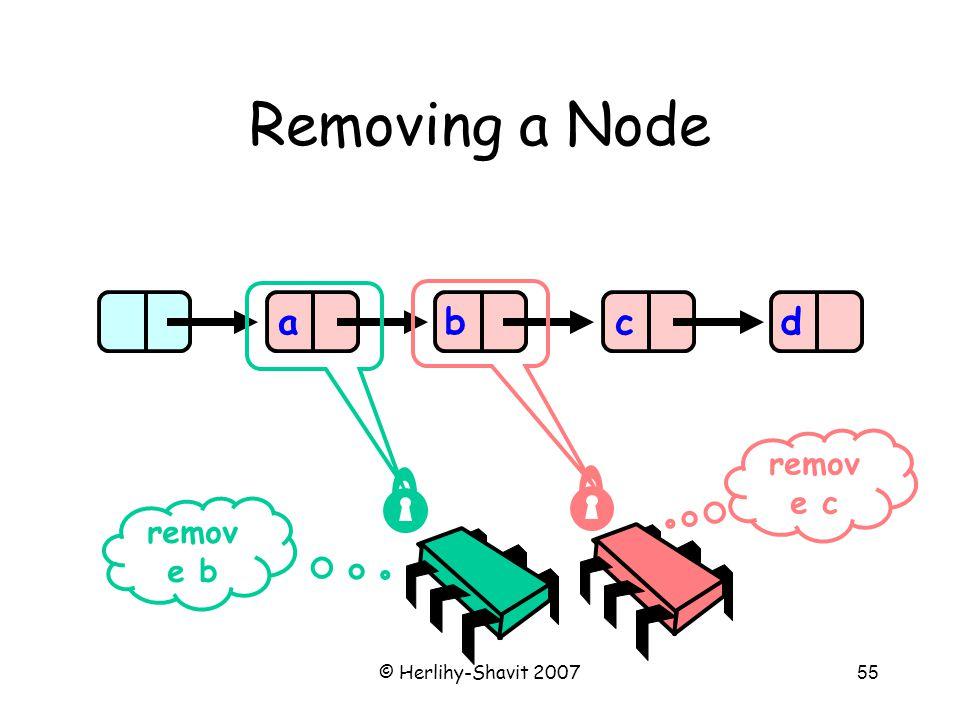 © Herlihy-Shavit 200755 Removing a Node abcd remov e b remov e c