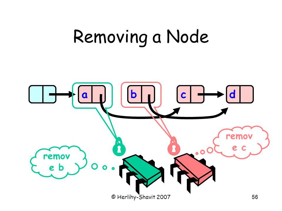 © Herlihy-Shavit 200756 Removing a Node abcd remov e b remov e c