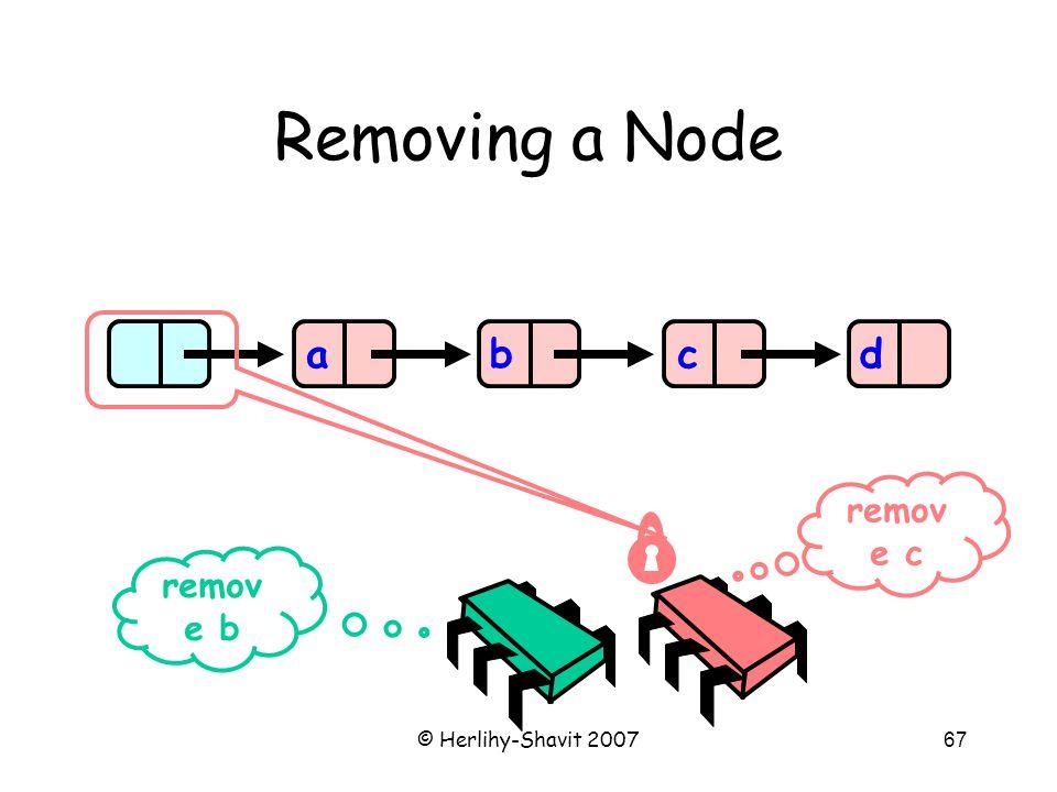 © Herlihy-Shavit 200767 Removing a Node abcd remov e b remov e c