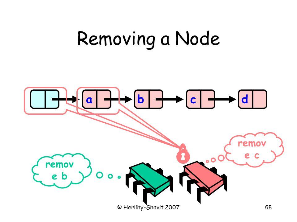 © Herlihy-Shavit 200768 Removing a Node abcd remov e b remov e c