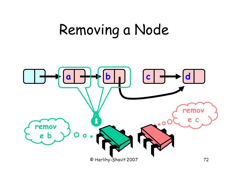 © Herlihy-Shavit 200772 Removing a Node abcd remov e b remov e c