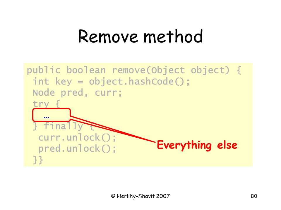© Herlihy-Shavit 200780 Remove method public boolean remove(Object object) { int key = object.hashCode(); Node pred, curr; try { … } finally { curr.unlock(); pred.unlock(); }} Everything else