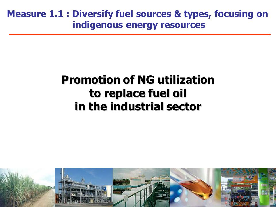 Measure 1.1 : Diversify fuel sources & types, focusing on indigenous energy resources Promotion of NG utilization to replace fuel oil in the industrial sector