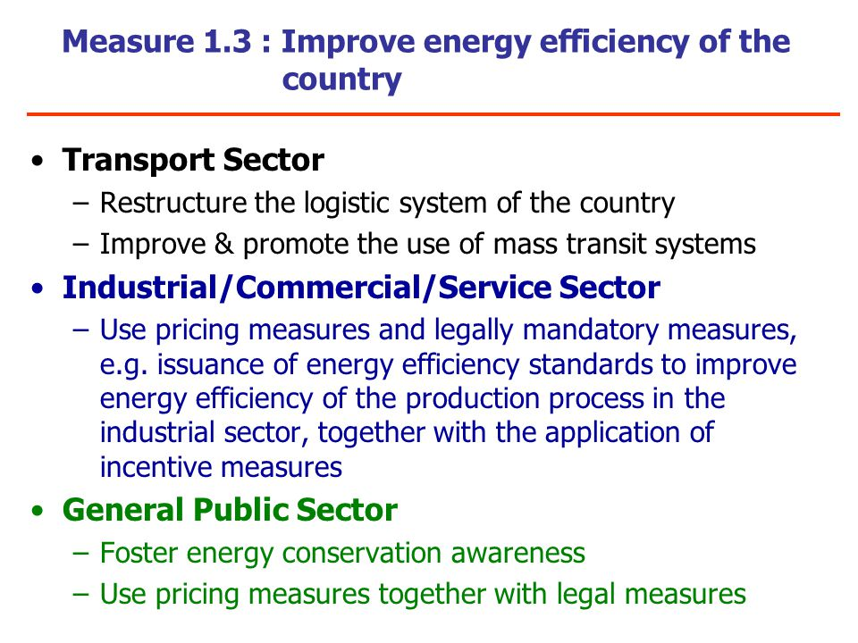 Measure 1.3 : Improve energy efficiency of the country Transport Sector –Restructure the logistic system of the country –Improve & promote the use of