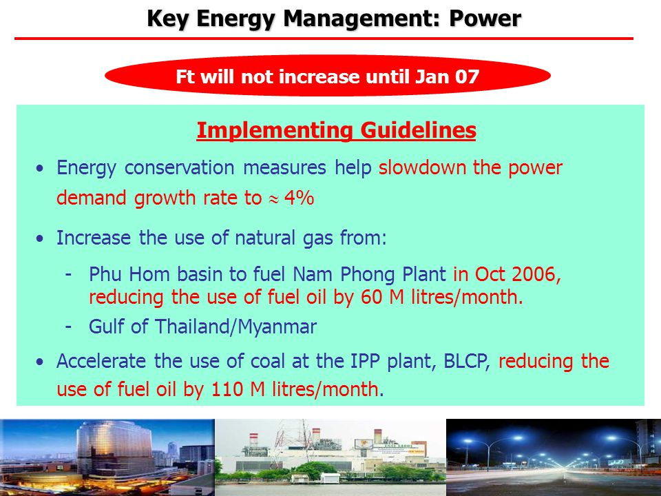 x Ft will not increase until Jan 07 Implementing Guidelines Energy conservation measures help slowdown the power demand growth rate to  4% Increase t