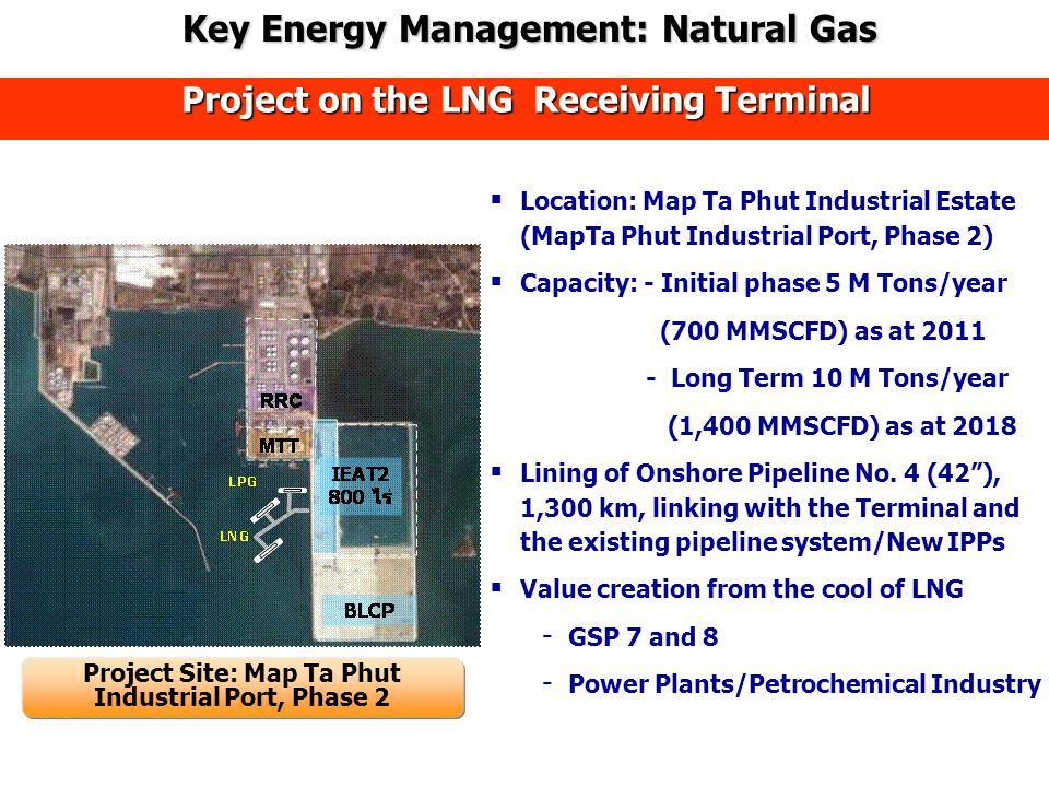 Project on the LNG Receiving Terminal  Location: Map Ta Phut Industrial Estate (MapTa Phut Industrial Port, Phase 2)  Capacity: - Initial phase 5 M Tons/year (700 MMSCFD) as at 2011 - Long Term 10 M Tons/year (1,400 MMSCFD) as at 2018  Lining of Onshore Pipeline No.