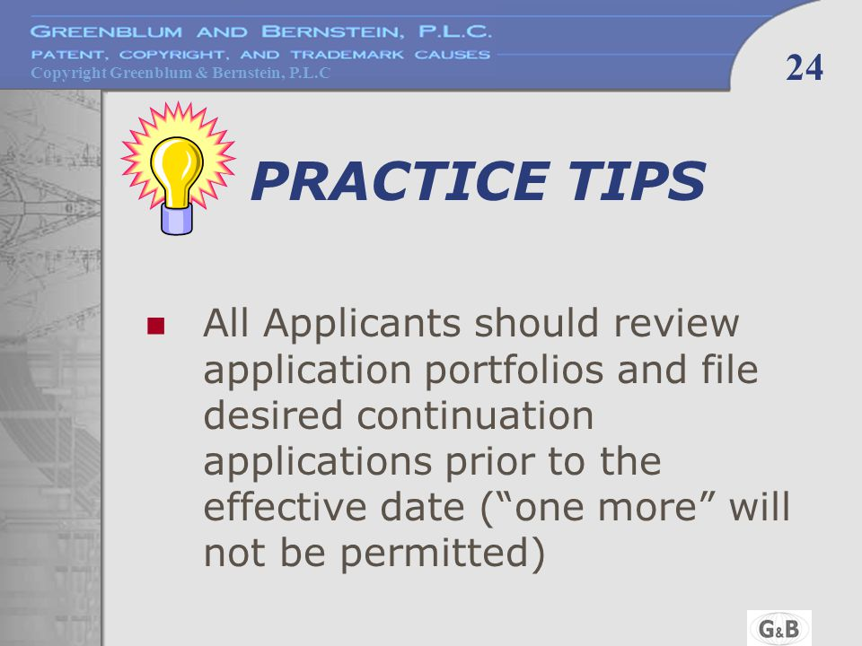 Copyright Greenblum & Bernstein, P.L.C 24 PRACTICE TIPS All Applicants should review application portfolios and file desired continuation applications