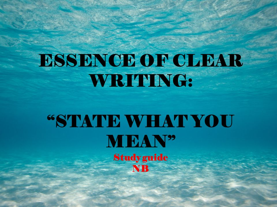 ESSENCE OF CLEAR WRITING: STATE WHAT YOU MEAN Study guide NB