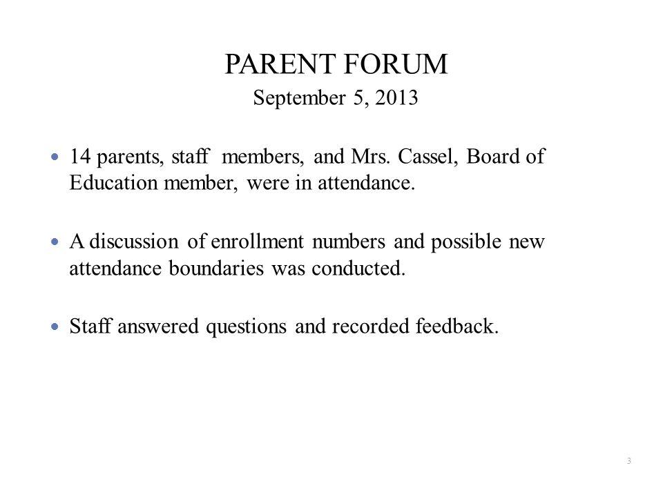 PARENT FORUM September 5, 2013 14 parents, staff members, and Mrs.