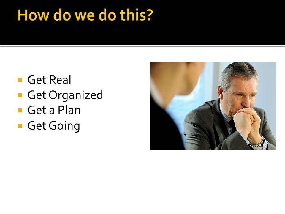  Get Real  Get Organized  Get a Plan  Get Going