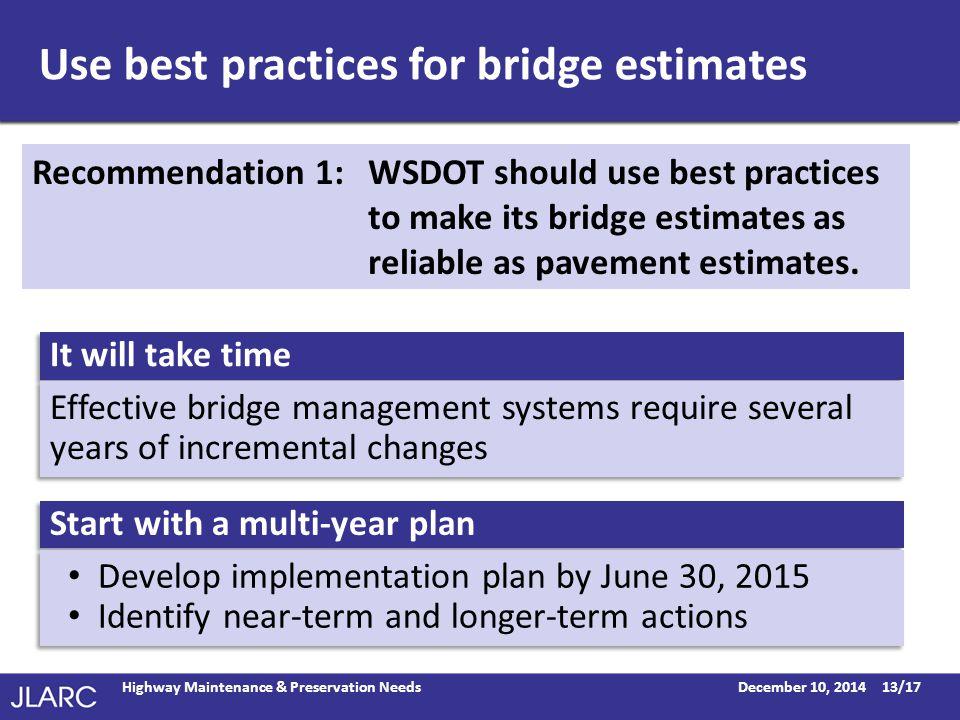 Use best practices for bridge estimates December 10, 2014Highway Maintenance & Preservation Needs13/17 Recommendation 1: WSDOT should use best practices to make its bridge estimates as reliable as pavement estimates.