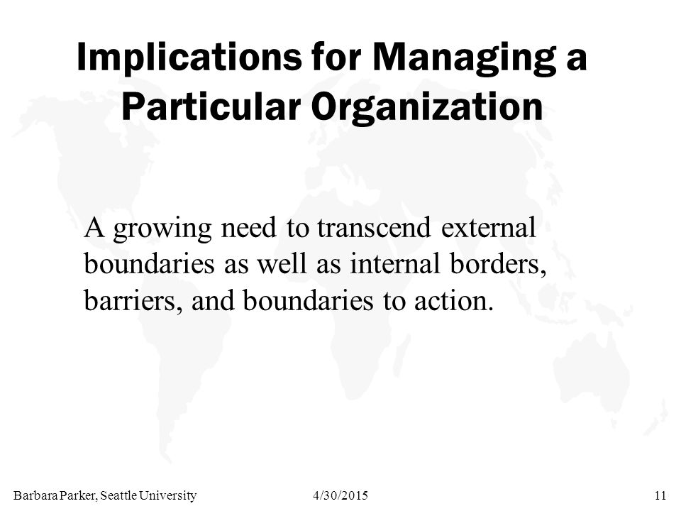 Barbara Parker, Seattle University4/30/201511 Implications for Managing a Particular Organization A growing need to transcend external boundaries as well as internal borders, barriers, and boundaries to action.