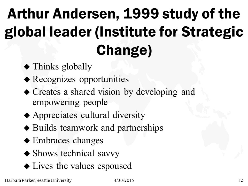 Barbara Parker, Seattle University4/30/201512 Arthur Andersen, 1999 study of the global leader (Institute for Strategic Change) u Thinks globally u Recognizes opportunities u Creates a shared vision by developing and empowering people u Appreciates cultural diversity u Builds teamwork and partnerships u Embraces changes u Shows technical savvy u Lives the values espoused