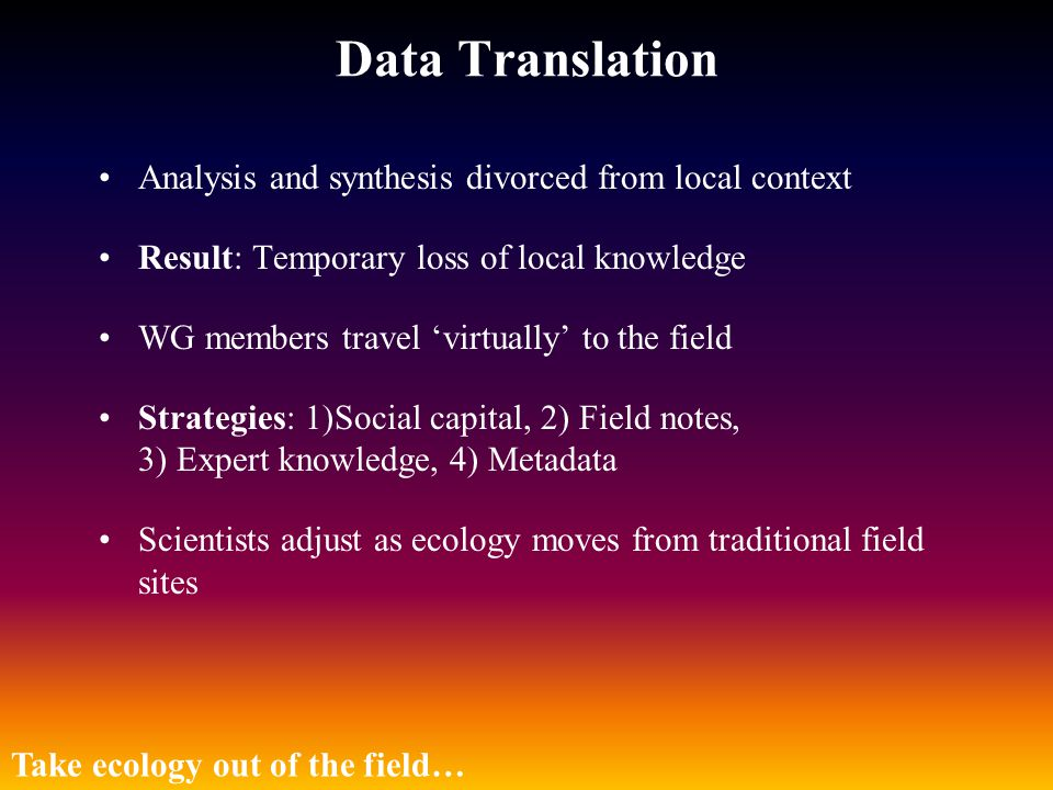 Data Translation Analysis and synthesis divorced from local context Result: Temporary loss of local knowledge WG members travel 'virtually' to the fie