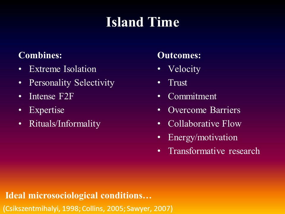 Island Time Combines: Extreme Isolation Personality Selectivity Intense F2F Expertise Rituals/Informality Outcomes: Velocity Trust Commitment Overcome