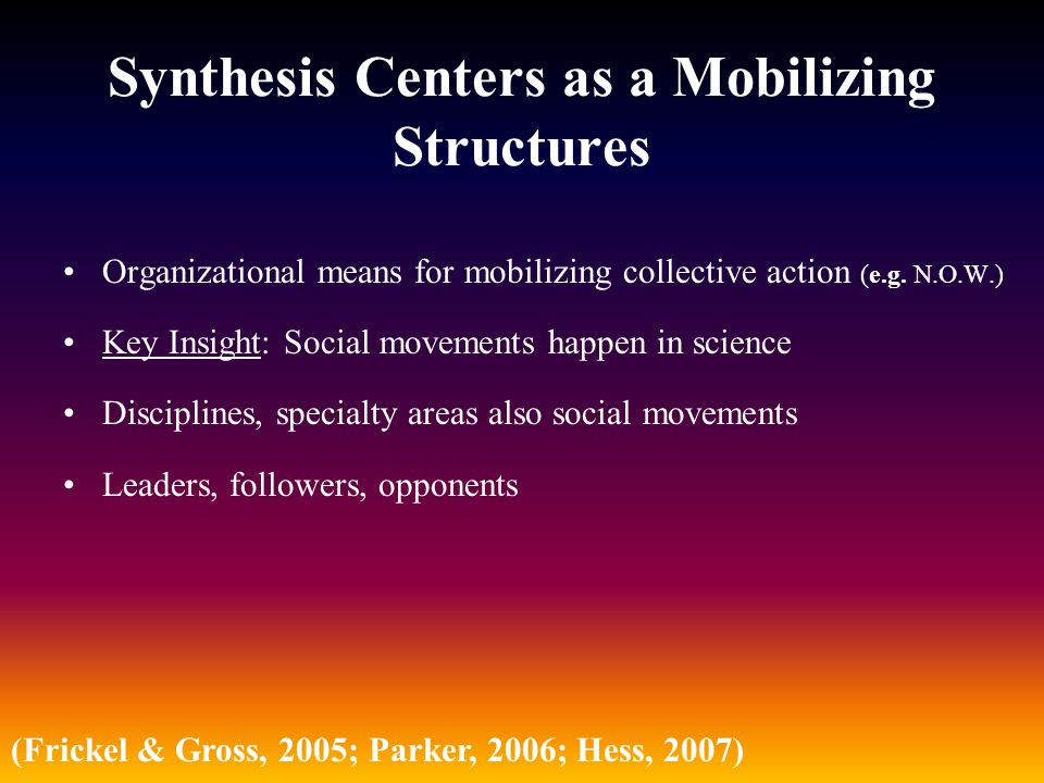Synthesis Centers as a Mobilizing Structures Organizational means for mobilizing collective action (e.g. N.O.W.) Key Insight: Social movements happen