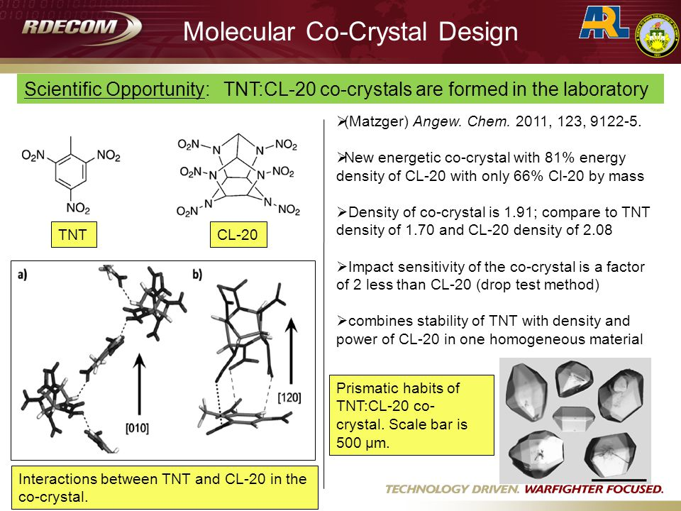 Prismatic habits of TNT:CL-20 co- crystal. Scale bar is 500 μm.