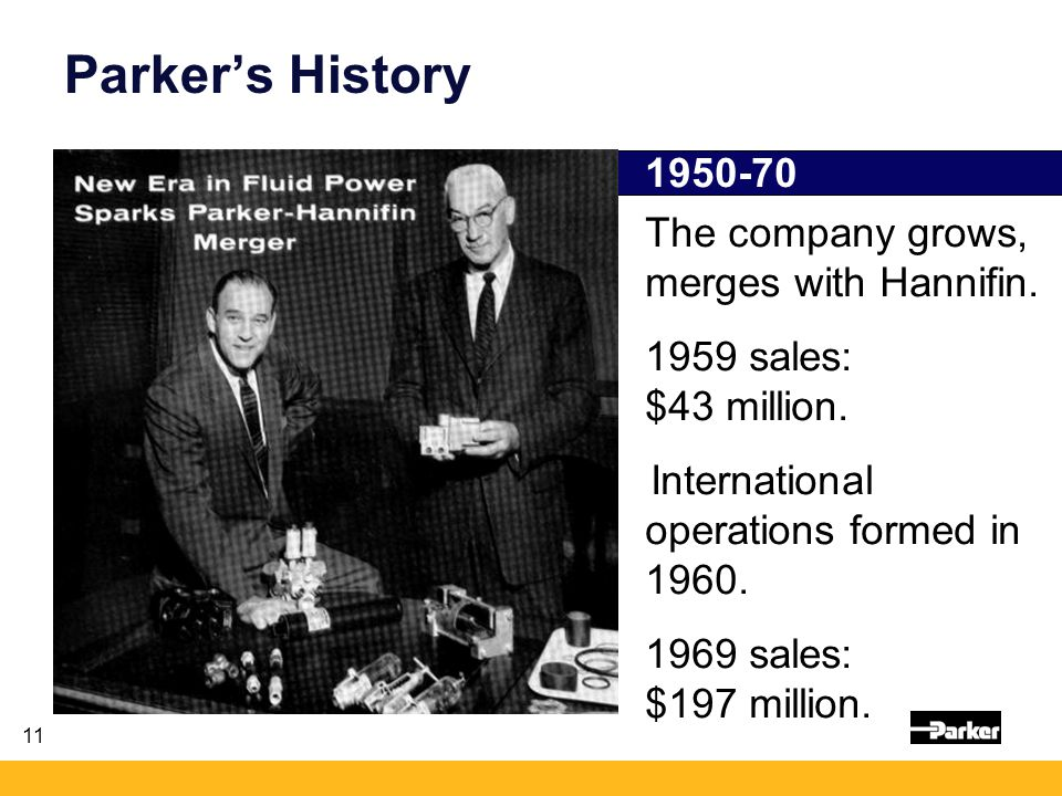 11 1950-70 The company grows, merges with Hannifin.
