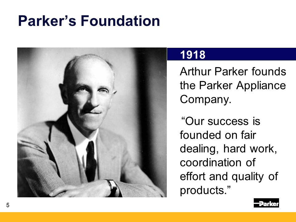 5 Parker's Foundation 1918 Arthur Parker founds the Parker Appliance Company.