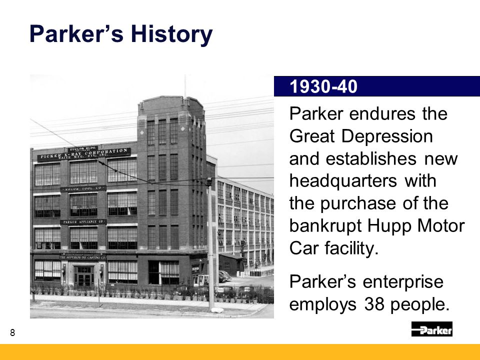 8 1930-40 Parker endures the Great Depression and establishes new headquarters with the purchase of the bankrupt Hupp Motor Car facility.