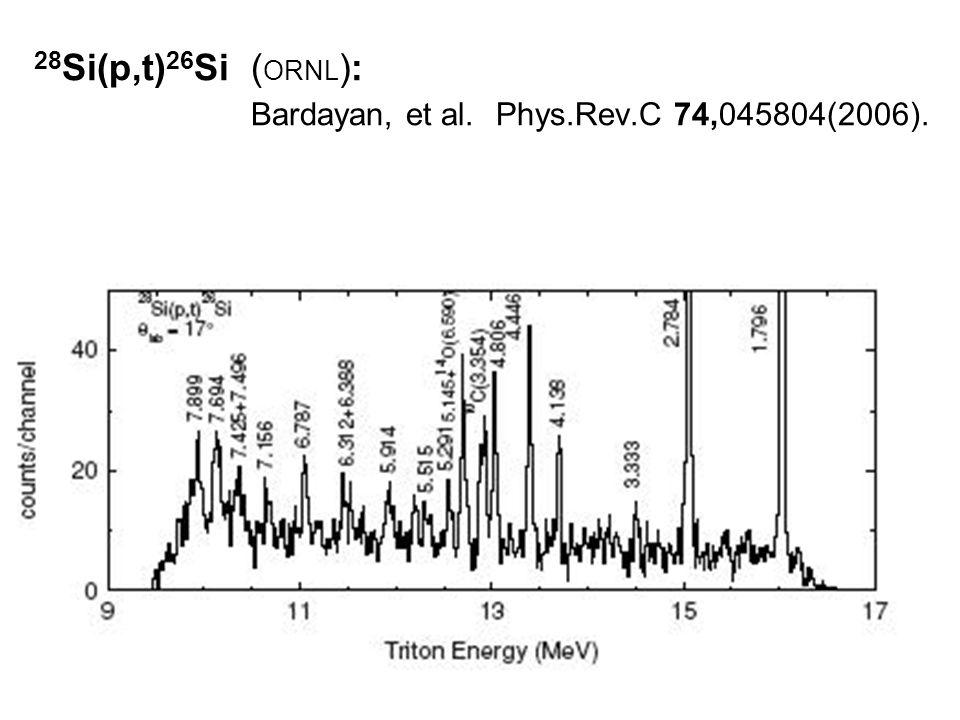 28 Si(p,t) 26 Si ( ORNL ): Bardayan, et al. Phys.Rev.C 74,045804(2006).