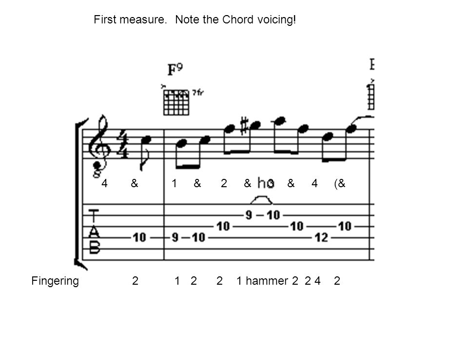 4 & 1 & 2 & 3 & 4 (& Fingering 2 1 2 2 1 hammer 2 2 4 2 First measure. Note the Chord voicing!