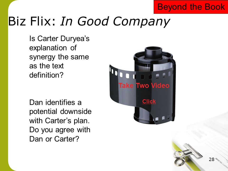28 Biz Flix: In Good Company Take Two Video Click Is Carter Duryea's explanation of synergy the same as the text definition? Dan identifies a potentia